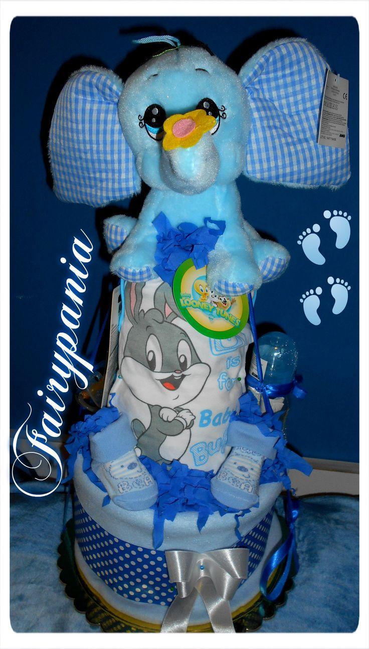 new born diaper cake elephant
