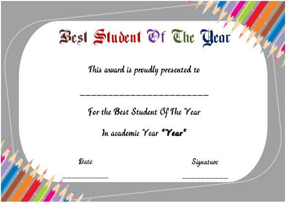 Best Student Of The Year Award Certificate Student Of The Year