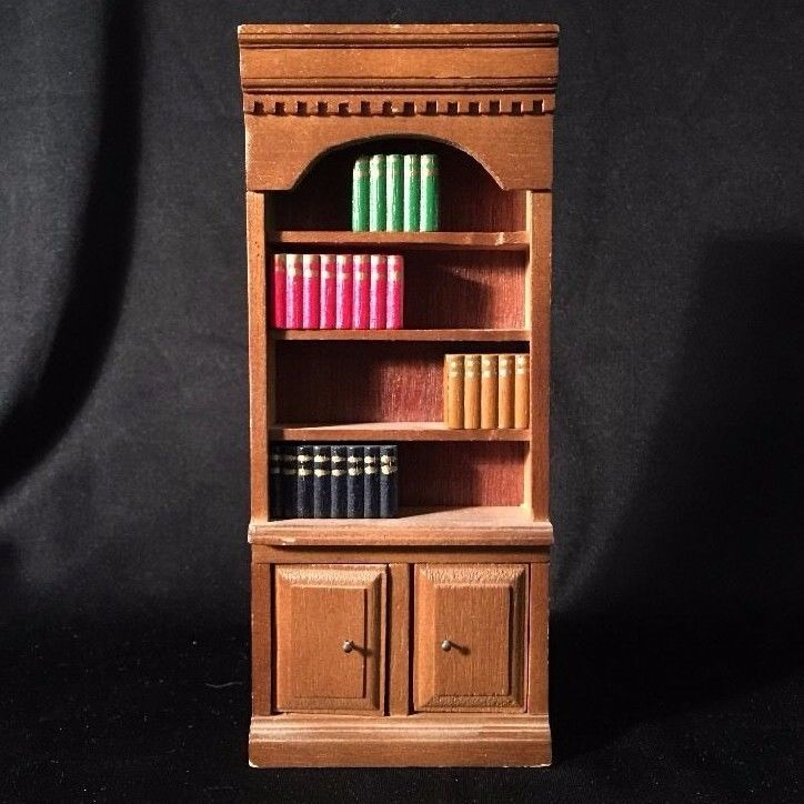 DOLLHOUSE Wood Wooden BOOKCASE w/ BOOKS Library Furniture Dental Molding Cabinet #Unbranded