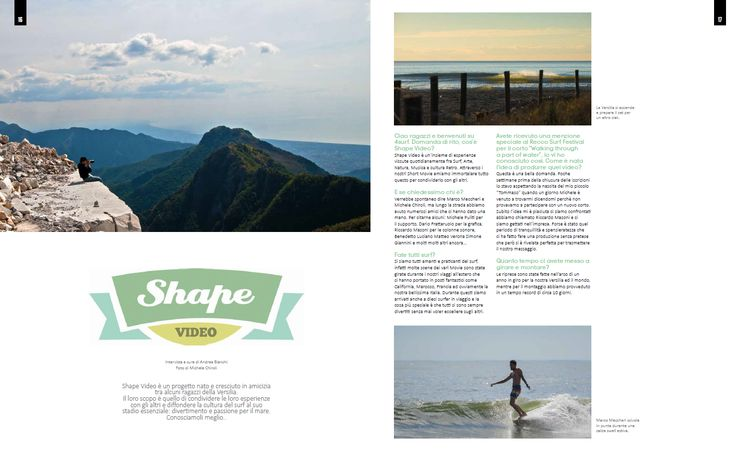 4SURF magazine - n°63 - SHAPE VIDEO ITW - Intervista di Andrea Bianchi. Foto Michele Chiroli  pag. 16-17