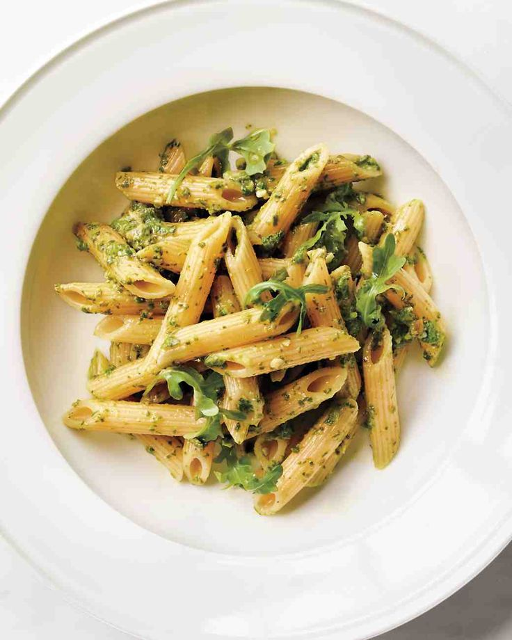 Penne Rigate with Arugula-Almond Pesto