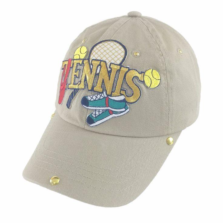 Kids Tennis Racket Beige Cotton and Gold Adornments Baseball Cap