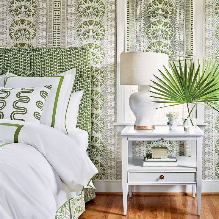 Anna French Petit Arbre Green on White Fabric AF9629 in