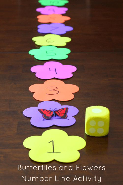 Butterflies and Flowers Number Line Activity. Preschool math fun!