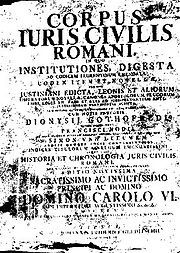 Empire byzantin — Corpus juris civilis.