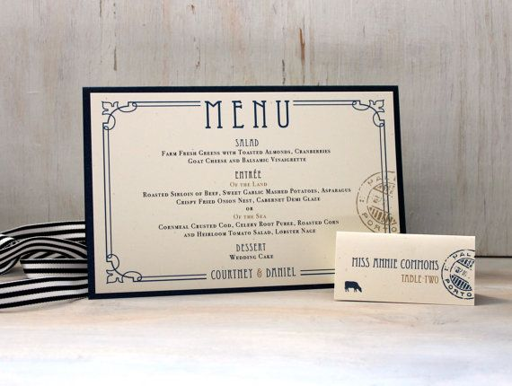 Nautical Wedding Decor Menu Cards Wedding by BeaconLane on Etsy, $50.00