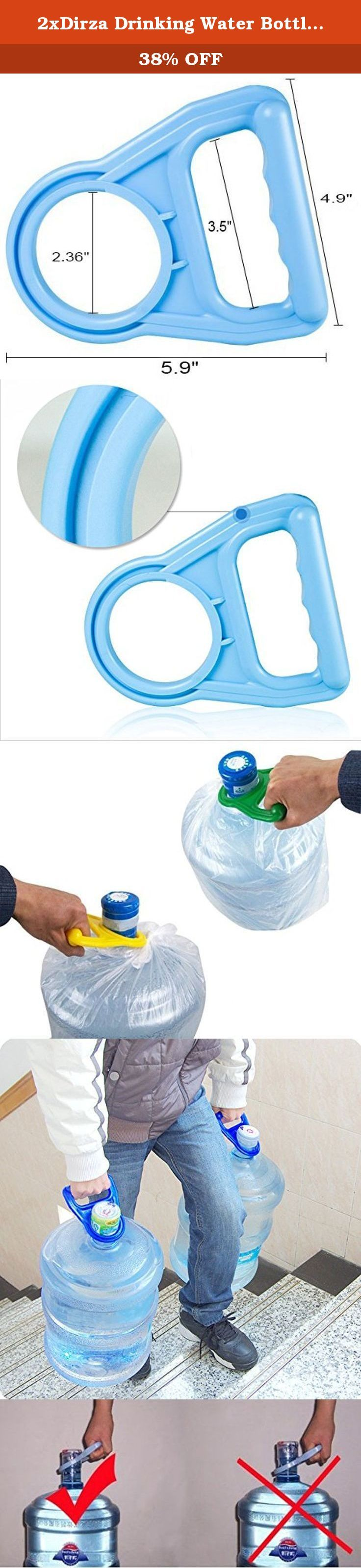 2xDirza Drinking Water Bottle Handle Bottle Lifter - Easy Lifting - Fit Any Type of Bottle - Assorted Colors. This water bottle handle designed to lift the 3/5/6 gallon bottles.With this helpful handle you can easy carry a heavy water bottle. This handle fits all standard 55mm Crown Top 3, 6, and 5 gallon water polycarbonate bottles with cap . .