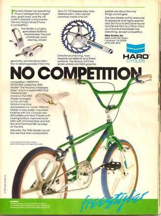 Classic Haro Master freestyle bike magazine advertisement ('86)