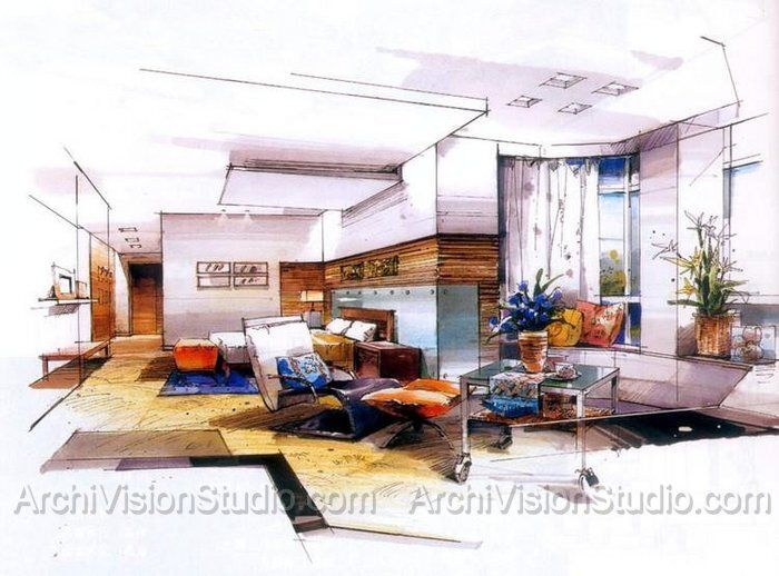 225 Best Hand Drawn Interior Design And Architectural Renderings Images On Pinterest Sketches