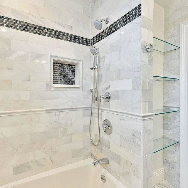 Hampton Carrara Polished Marble Subway Tile 4 X 12 In Marble Tile Bathroom Mosaic Bathroom