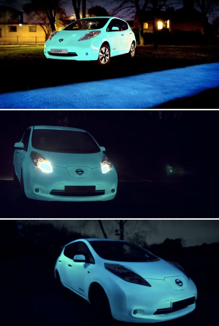 To showcase how Nissan is helping an increasing number of people to convert to solar energy at home, they created a glow-in-the-dark Nissan leaf.
