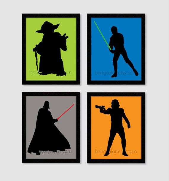 yoda silhouette Star Wars Silhouette Set of 4 Art Prints 8X10 for bedroom decor