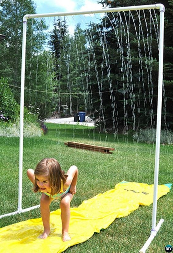 DIY Backyard PVC Sprinkler Fall-20 PVC Pipe DIY Projects For Kids