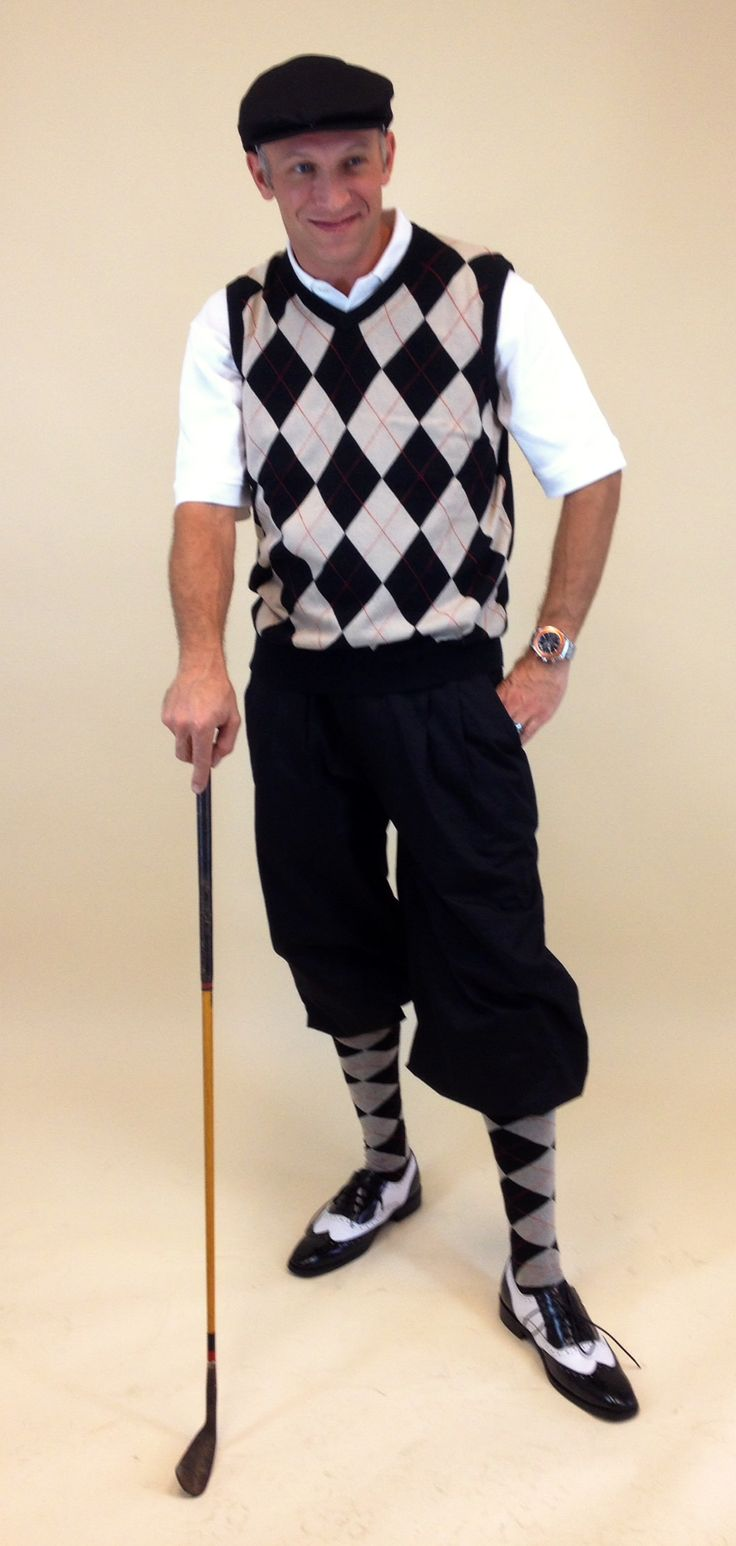 Men's Golf Outfit - Black/Khaki/Red Overstitch w/Black Knickers