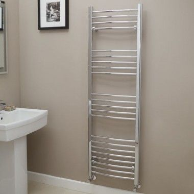 Eco Heat 1600 x 600 Curved Chrome Heated Towel Rail £104.95
