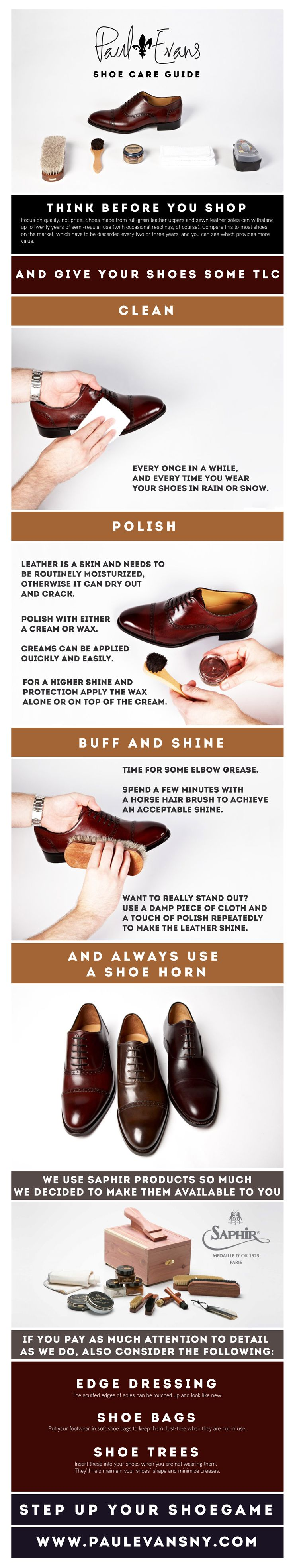 The definitive infographic on shoe care. Protect your investment and make the most out of your pair of Paul Evans.