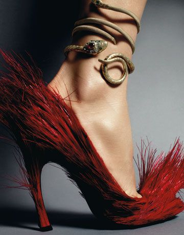 Strange feathery shoe and  snake ankle bracelet.. ??? the shoe looks like something from Dr. Seuss...
