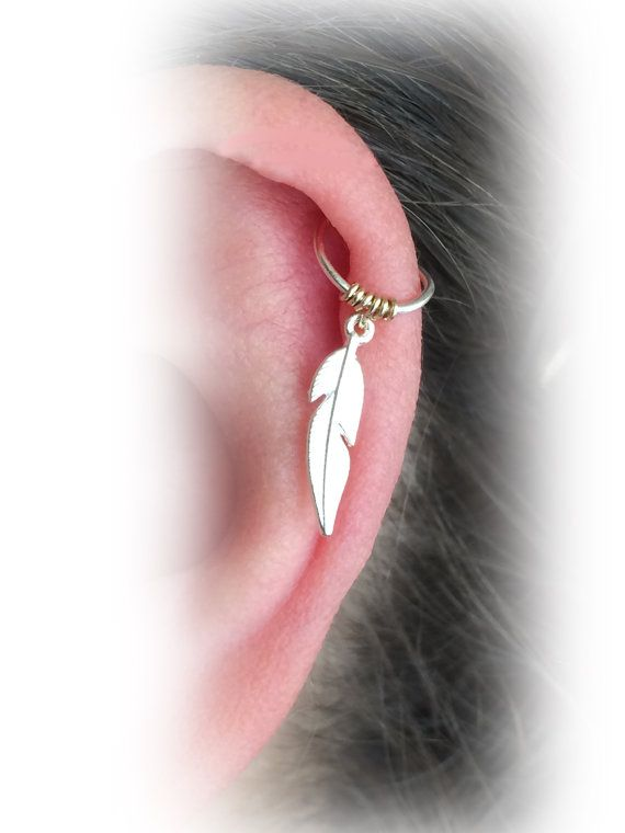 Feather Cartilage Hoop Cartilage Ring Silver by FlowerRainbowNJ