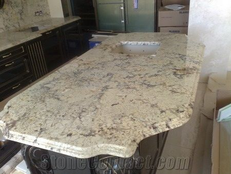 Bianco Romano Granite With Black Cabinetry