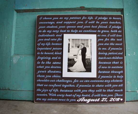 Custom wedding sign/frame with first dance lyrics or vows.    This sign is a great gift for any married couple. It can be personalized with the