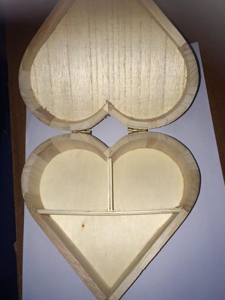 Personalised Gift Wooden Heart Jewellery Box