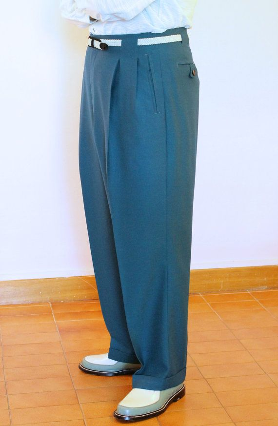 Any colour 50s High-waisted Men's Slacks Toni by MariaGuyeClothing