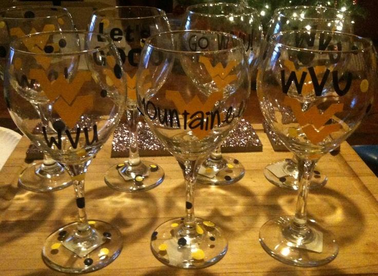 WVU Mountaineers Wine Glass