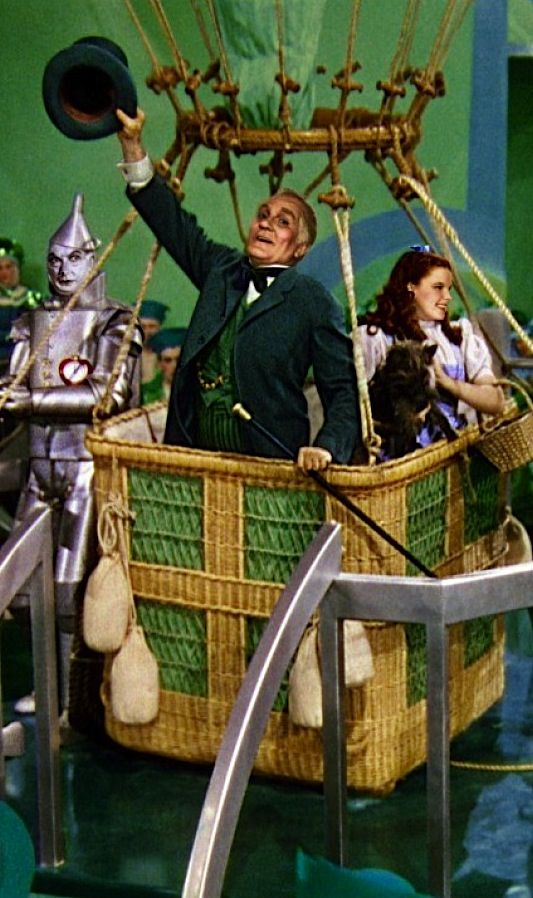 Oz: The #Wizard of #Oz ~ The Tin Man, Professor Marvel (aka the Wizard of Oz), Dorothy, and Toto.