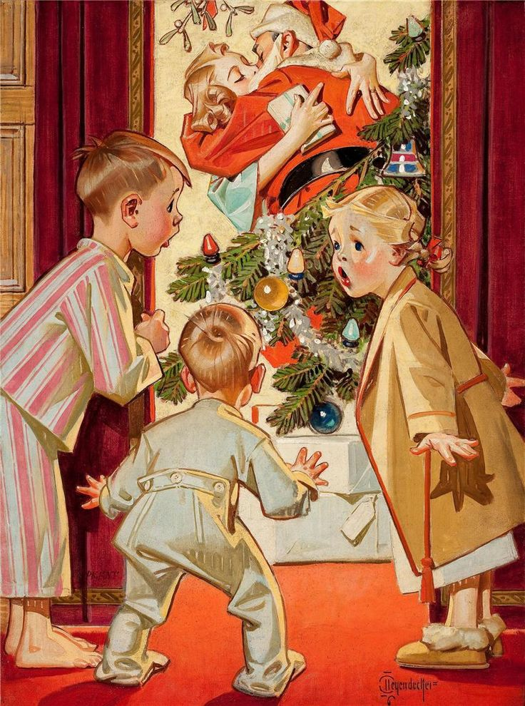 I saw Mommy kissing Santa Claus ~ Illustration by J.C. Leyendecker for American Weekly, December 1948.