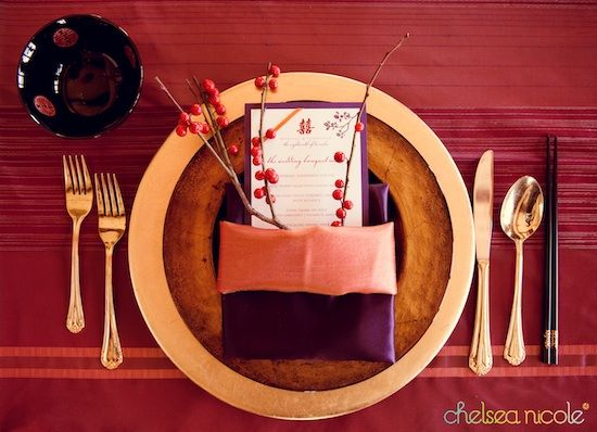 Modern Chinese-American wedding styled photo shoot - cranberry, purple, copper and gold table settings
