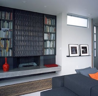 beautiful Heath tile fireplace surround.  John Lum Architecture