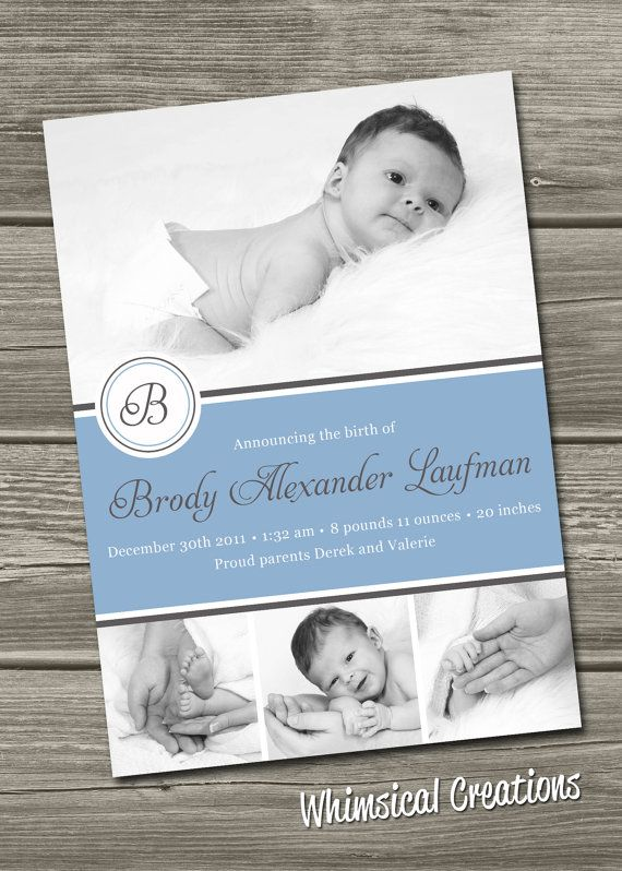 Baby Boy Birth Announcement Digital File by WhimsicalCreationsPC
