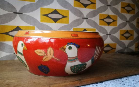 Hand painted fruit bowl, salad bowl, serving bowl, Kewdos Ltd pottery hand painted bowl. Mediterranean, Mexican bowl, vintage kitchen decor