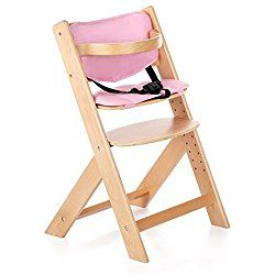 IKAYAA Baby Wooden High Chair with Cushion, Adjustable Height Infant Dining