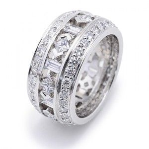 New Eternity Bridal Ring Round Brilliant Cut Diamond accented by Princess Baguette and Round Brilliant Cut Diamonds set in Platinum