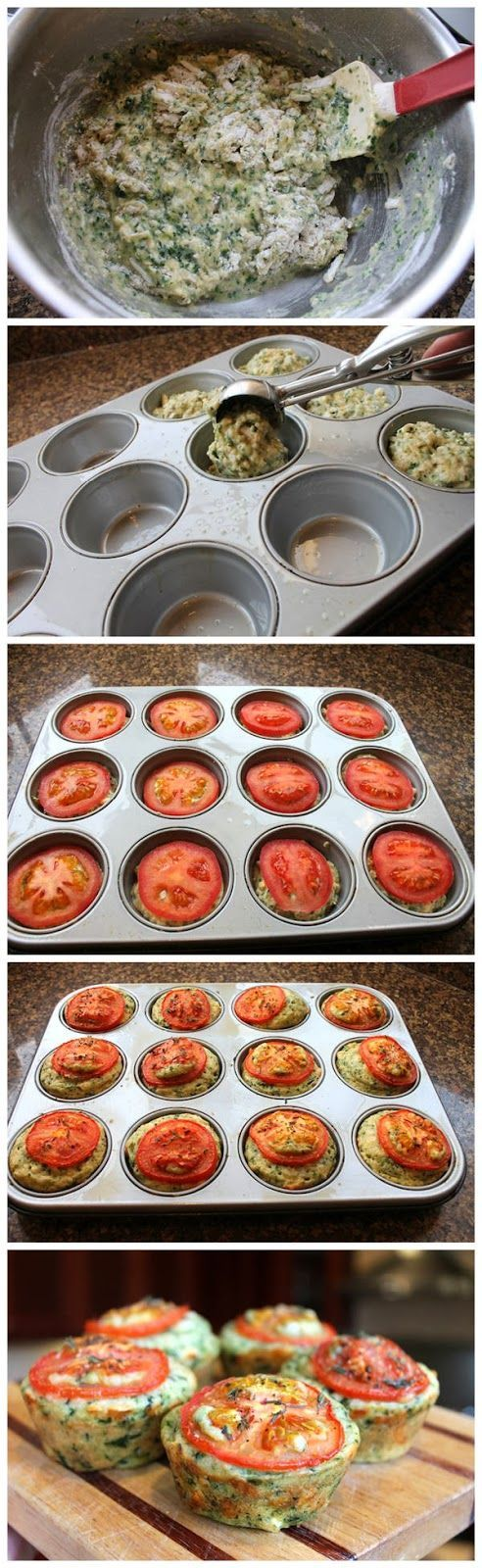 Cheesy Spinach Muffins -- Tthough I think Id rather dice up the tomatos rather than have it all on top :)
