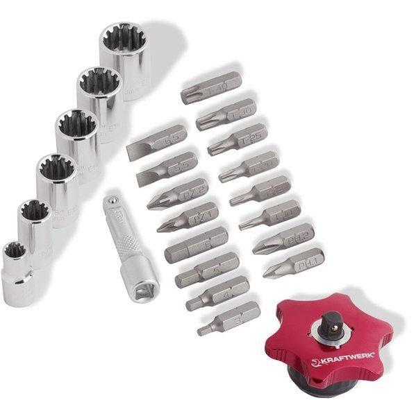 4-teiliger COMBI Fingerratschen-Werkzeugsatz. Viel Werkzeug für die Hosentasche. Mit den enthaltenen COMBI-Stecknüssen lassen sich sowohl metrische, Zoll-Schrauben und auch Torx und Vielzahn-Schrauben bearbeiten. Die Stecknüsse sind auf einer kleinen Stecknussschiene aufgereiht. Mit den Steckbits lassen sich alle gängigen Schraubenköpfe wie Schlitz, Kreuzschlitz, Torx und Sechskant schrauben.