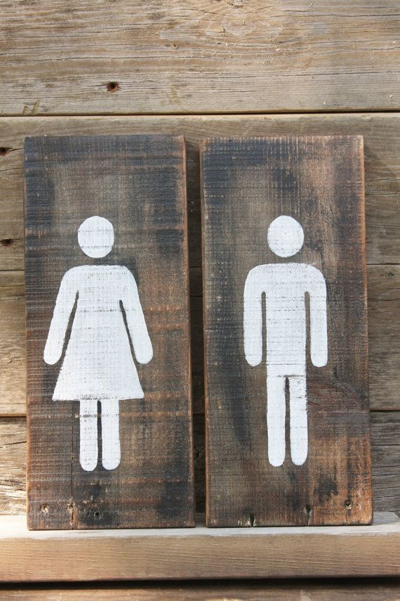Wood Restroom Sign by TheRustedMonkey on Etsy