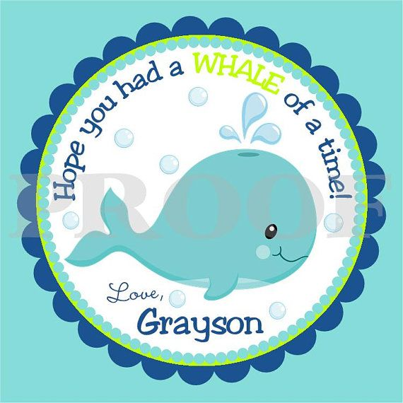 Personalized Whale Favor Tags  DIY Printable Tags by ciaobambino, $6.00