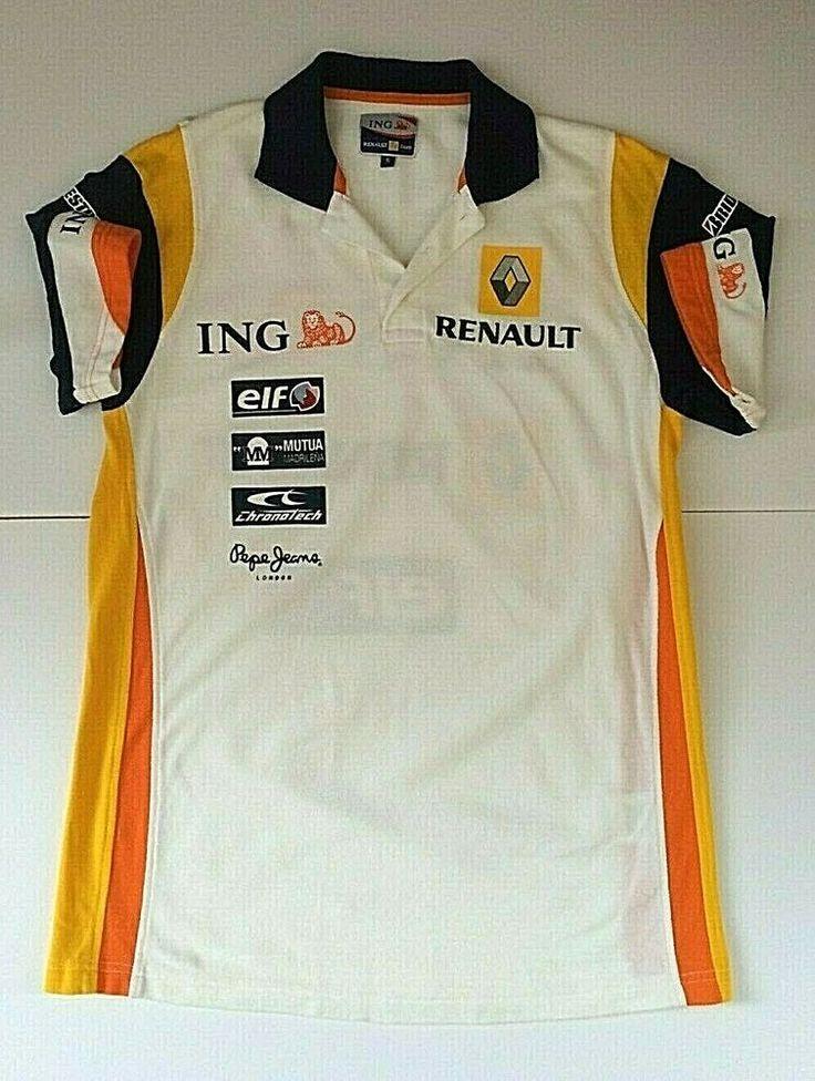 ING Renault F1 Team Mens Polo Golf Shirt Small White Logo