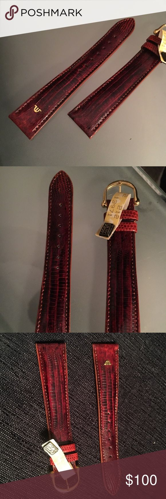 NWT Maurice Lacroix lizard watch strap red gold 20 Size 20. Real lizard. Gorgeous. Retailed for hundreds. Maurice Lacroix Accessories Watches
