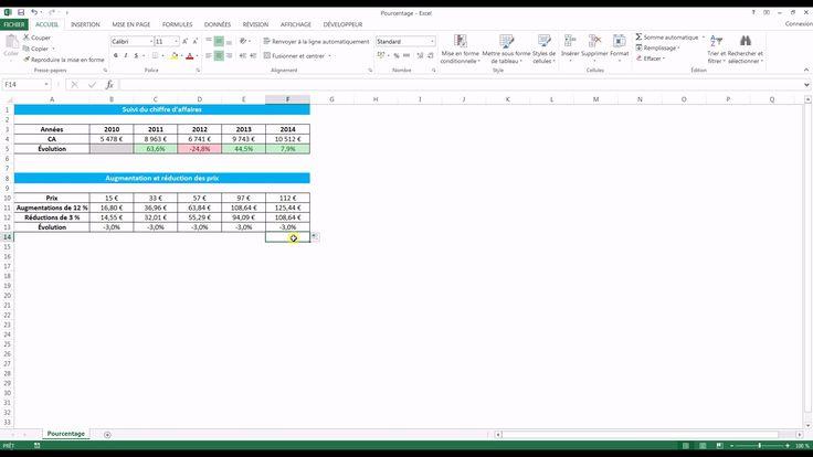 Tutoriel vidéo pour apprendre à calculer le pourcentage d'augmentation ou de réduction sur Excel. Comment calculer un pourcentage sur Excel ? Comment calculer une évolution du chiffre d'affaires ou des prix sur Excel ?  Pour lire ce tutoriel en version texte, rendez-vous sur Votre Assistante : http://www.votreassistante.net/calculer-pourcentage-augmentation-ou-reduction-excel