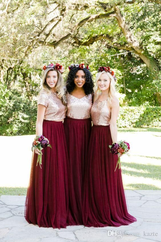 Rose Gold Sequins Burgundy Country Two Pieces Bridesmaid Dresses 2018 Mix Style Long Holiday Junior Wedding Party Guest Dress Cheap