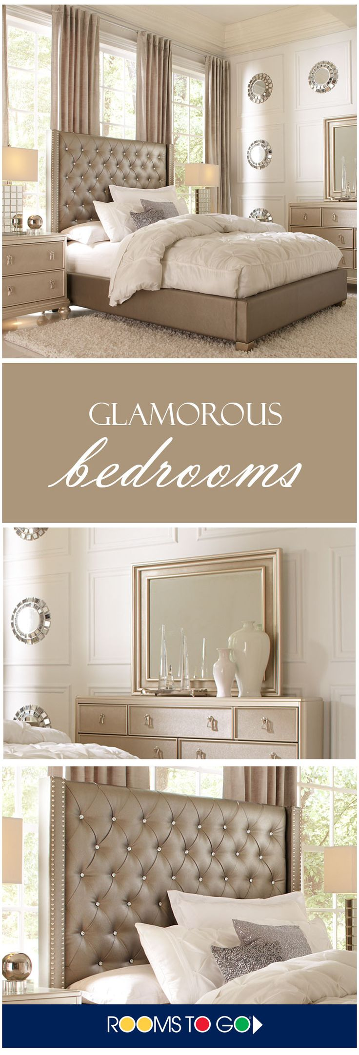 Elegant, luxurious, glamourous. The chic Paris collection combines lavish design with smart organizational features and indulgent comfort to create your dream bedroom. Each piece is crafted of pine solids and birch veneers and rendered in a stunning champagne finish. Mirrored accents and molding details lend a stylish touch, while turned legs and chrome finished hardware complete the upscale feel of each piece. Shop this bedroom and more now!