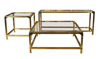 Vintage Mastercraft tables Cocktail 40 x 40 x 17H $2,400 Console table 60.25in x 16in x 26.13in H $2,400 End/Side table SOLD