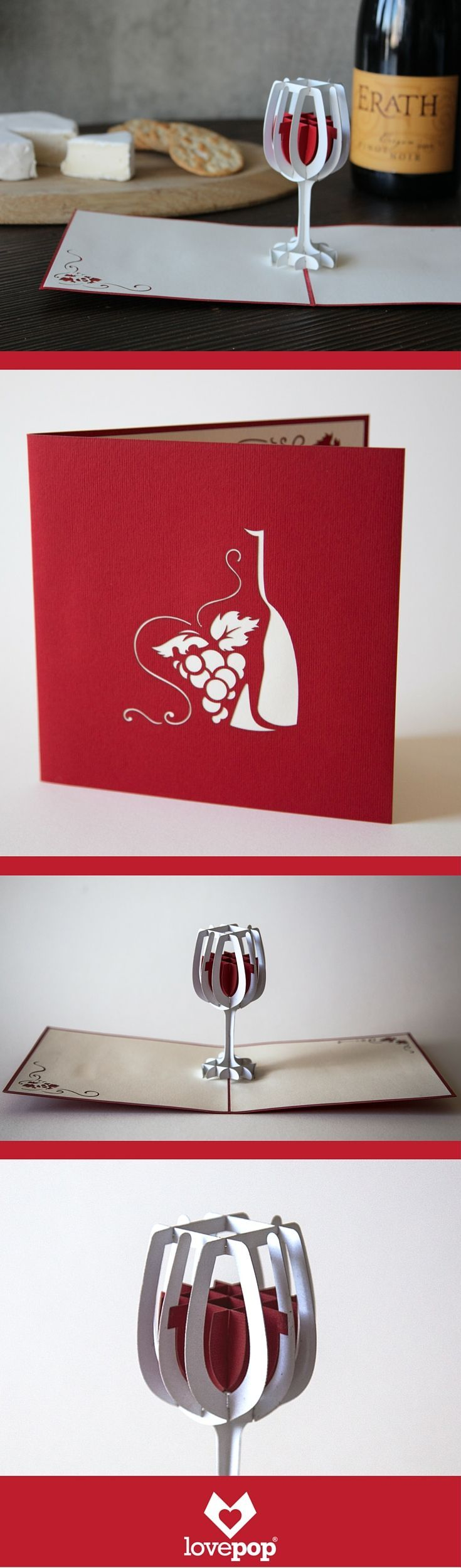 This merlot colored 3d pop up card holds a pop up glass full of wine. Beautiful paper art to delight your dinner party host of hostess. #hostessgift #winetime