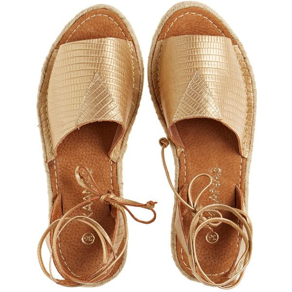 KAANAS SHOES Pharoh Metallic Espadrille (£52) ❤ liked on Polyvore featuring shoes, sandals, flats, sapatos, обувь, gold, metallic flats, leather sandals, leather shoes et leather espadrille flats