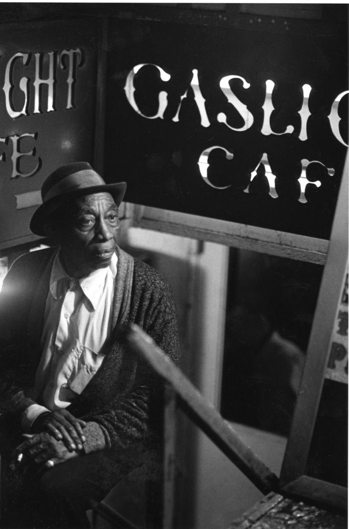 Mississippi John Hurt, this is a great photo. Bob Dylan played at The Gaslight Cafe, New York, back in the 1960s.