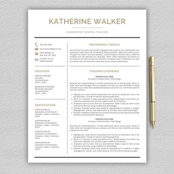 Teacher Resume / CV Teacher by Pro.Graphic.Design on @creativemarket
