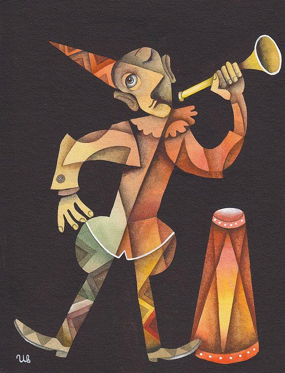Clown with a trumpet by Eugene Ivanov #cirque #circus #clown #clownery #illustration #eugeneivanov #@eugene_1_ivanov
